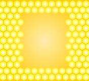 Honey vector frame with yellow honeycombs Stock Images