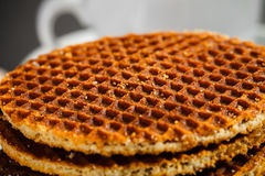 honey waffles closeup and coffe cup Royalty Free Stock Photo