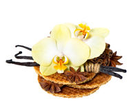 Free Honey Waffles With Vanilla Pods And Orchid Flower Royalty Free Stock Images - 24812969
