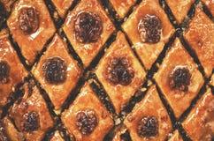 Honey and walnut baklava background. Homemade honey and walnut baklawa background Royalty Free Stock Photography
