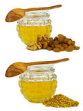 Honey with walnut, raisins and pollen Royalty Free Stock Photos