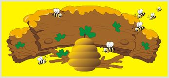 Honey whith hive and bee. Sweet honey whith hive and bee vector illustration