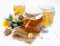 Honey and wild flowers Royalty Free Stock Image