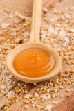 Honey in a wood spoon Royalty Free Stock Photos