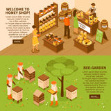 Honey Yard Isometric Banners Set Immagine Stock
