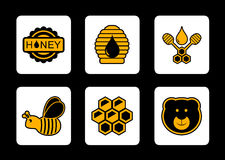 Honey yellow icon on black background Royalty Free Stock Image
