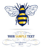 Honeybee. In yellow and blue colors Royalty Free Stock Photography