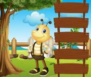 A honeybee beside a blank template. Illustration of a honeybee beside a blank template Stock Photography