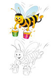 Honeybee with Bucket of Honey Royalty Free Stock Photos