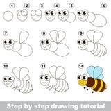 The honeybee. Drawing tutorial. Stock Photo
