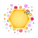 Honeybee and flowers. Text box for web design Stock Image
