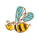 Honeybee hand drawn icon isolated vector. Royalty Free Stock Image