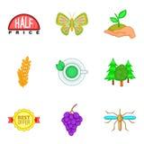 Honeybee icons set, cartoon style. Honeybee icons set. Cartoon set of 9 honeybee vector icons for web isolated on white background Stock Photo