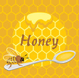 Honeybee on the spoon. Label for design. Illustration Royalty Free Stock Images