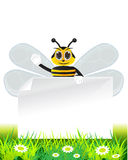 Honeybee with text paper Royalty Free Stock Photo