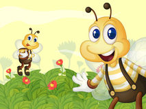 Honeybees in the garden Stock Photo