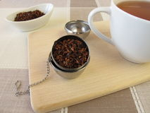 Honeybushtea and tea infuser ball Stock Photography