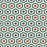 Honeycomb background. Retro colors repeated hexagon tiles wallpaper. Seamless pattern with classic geometric ornament. Royalty Free Stock Photos