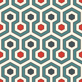 Honeycomb Background. Retro Colors Repeated Hexagon Tiles Wallpaper. Seamless Pattern With Classic Geometric Ornament. Stock Photo