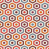 Honeycomb background. Vivid colors repeated hexagon tiles wallpaper. Seamless pattern with classic geometric ornament. stock illustration