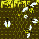 Honeycomb and bees Stock Photography