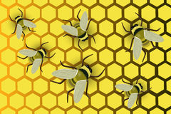Honeycomb with bees. Vector illustration Royalty Free Stock Image