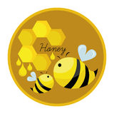 Honeycomb and the bees. Vector illustration of cartoon honeycomb and the bees , ideal for logo designing and label designing Royalty Free Stock Photo