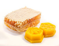 Honeycomb with beeswax Stock Photos