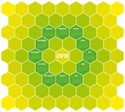 Honeycomb Calendar 2010. Calendar for year 2010 in an hexagonal pattern (vector format Stock Images