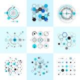 Honeycomb and circular bauhaus abstract geometric shapes set. Modernistic circle elements. Vector illustration Stock Illustration