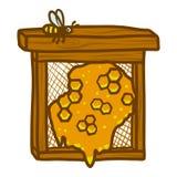 Honeycomb frame icon, hand drawn style royalty free illustration