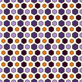 Honeycomb grid abstract background in Halloween traditional colors. Repeated irregular hexagon wallpaper. Seamless surface pattern with classic geometric Stock Photography