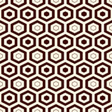 Honeycomb grid background. Outline repeated hexagon wallpaper. Seamless surface pattern with classic geometric ornament. Stock Images