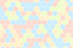 Honeycomb Grid tile random background of multicolor or colorful red blue green and yellow or Hexagonal cell texture. with differen. Ce border space.  colorful stock illustration