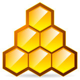 Honeycomb, honey cell illustration / icon isolated. Organic swee Stock Photos