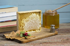 Honeycomb with honey. Close up stock images