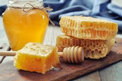 Honeycomb with honey dipper Stock Image