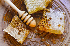 Honeycomb with honey dipper on vintage wooden plate. Background Stock Images