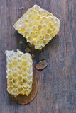 Honeycomb and honey drops Stock Image