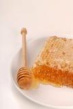 Honeycomb with honey wand Royalty Free Stock Image