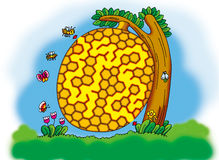 Honeycomb maze. Maze:a small bee want to go home Stock Photos