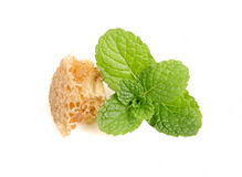 Honeycomb with mint in closeup Royalty Free Stock Photography