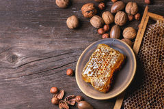 Honeycomb and nuts Stock Photography