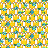 Honeycomb pattern cells with berry vector background. Royalty Free Stock Photos