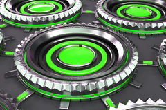 Honeycomb pattern of concentric metal shapes with green elements. Circular objects connected in grid on grey background. Abstract futuristic background. 3D Stock Images
