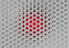 Honeycomb pattern. 3 dimension honeycomb pattern which have red color as background Royalty Free Stock Photography
