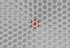 Honeycomb pattern. 3 dimension honeycomb pattern which have red color as background Stock Image
