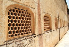 Honeycomb Patterned Window Cover. Royalty Free Stock Images