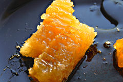 Honeycomb on plate. Orange wet sticky honeycombs on black plate Stock Photography