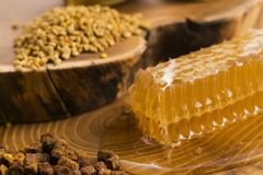 Honeycomb, pollen and propolis. On wooden background Royalty Free Stock Photography
